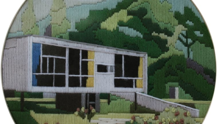 Matthew de Moiser's Rose Seidler House is one of four long-stitch embroidered images depicting modernist architecture.  It is part of the  Thoroughly Modern exhibition at Canberra Contemporary Art Space.