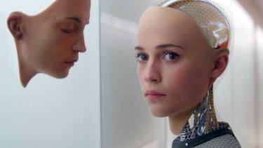 Alicia Vikander in a scene from <i>Ex Machina</i>, one of many films to explore the costs of viewing robots as sentient beings with feelings.