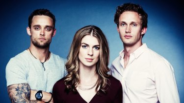 Canberra actors Lucy Lovegrove (centre) and Lukas Whiting (right) with their on-screen brother played by Luke Patrick.