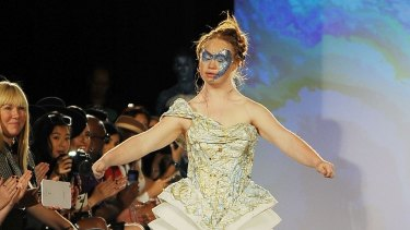 Madeline Stuart walks the runway at an earlier New York Fashion Week show. 06e61fe30f68