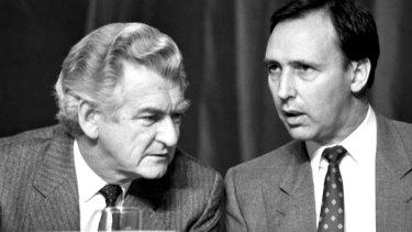 Bob Hawke and his treasurer Paul Keating in 1988.