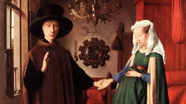 Van Eyck's painting <i>The Arnolfini Betrothal</i>: Hockney believes he used a mirror or lens to achieve the perfect surfaces.