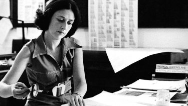 Book designer Alison Forbes at work in the early 1950s.