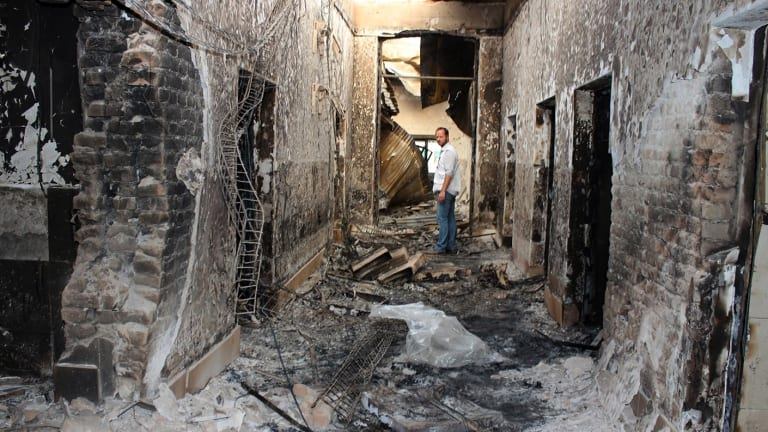 The charred remains of the Medecins Sans Frontieres hospital in Kunduz, which treated wounded Taliban and government fighters alike, after it was hit by a US airstrike last month.