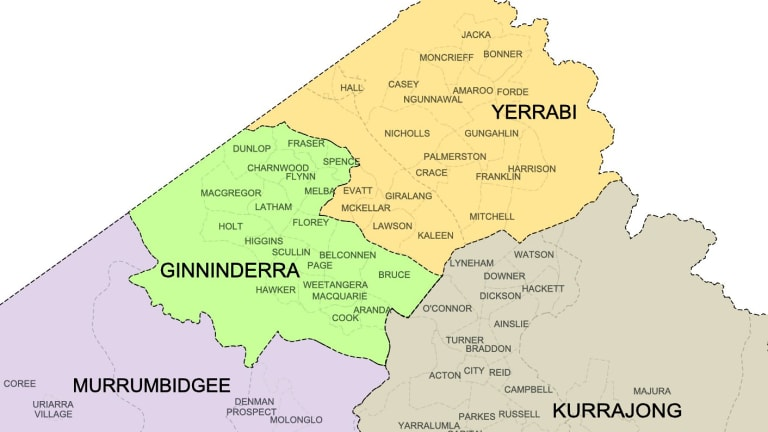 Map of the new ACT electorates Yerrabi and Ginninderra.