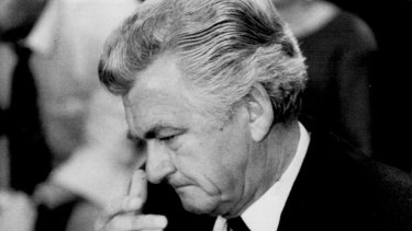 Bob Hawke breaks down during a press conference at Parliament House in September 1984.