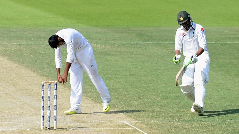 Not again: England's Adil Rashid reacts to more runs being conceded against Pakistan.