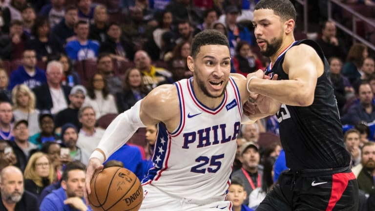 Baseline drive: Philadelphia 76ers' Ben Simmons moves to the basket against Los Angeles Clippers' Austin Rivers.