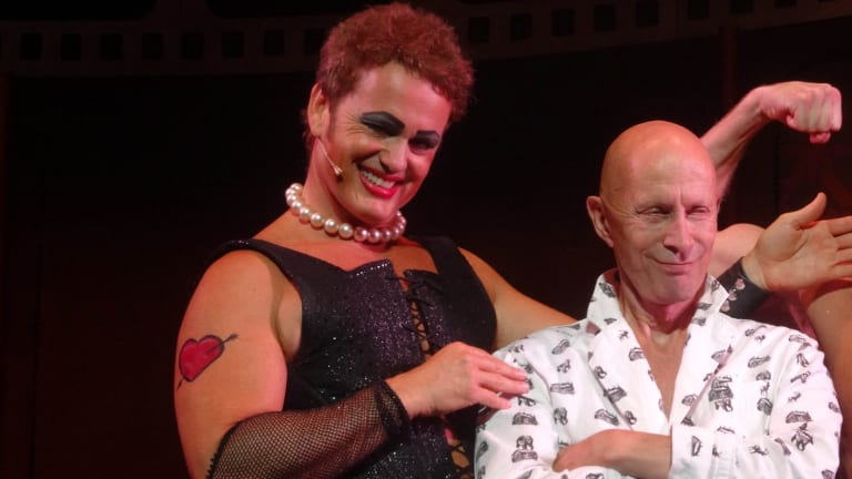 Craig McLachlan with  Richard O'brien in a performance of The Rocky Horror Show.