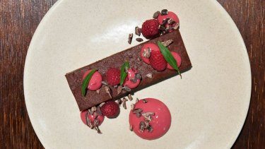 Chocolate torte with raspberry coulis and cocoa nibs.