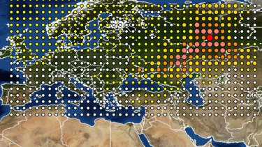 A INRS map of the detection of Ruthenium 106 in France and Europe released on Friday.