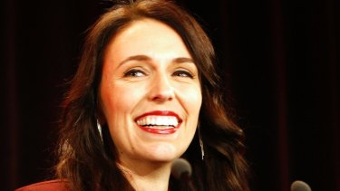 New Zealand's leader Jacinda Ardern talks to hundreds of supporters after election results are announced.