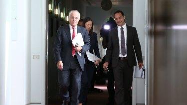 Prime Minister Malcolm Turnbull with media adviser John Garnaut.