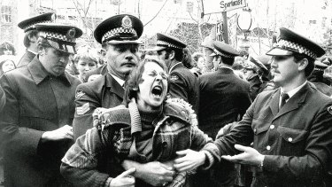 The scene outside the Central Court of Petty Sessions in Sydney where gay and lesbians demonstrated in 1978.