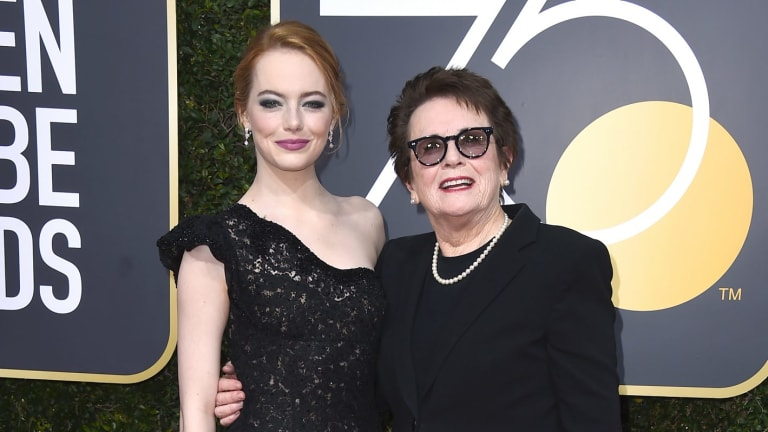 Billie Jean King, right, attended the Golden Globes Awards this week with Emma Stone, who portrayed her in the film Battle of the Sexes.