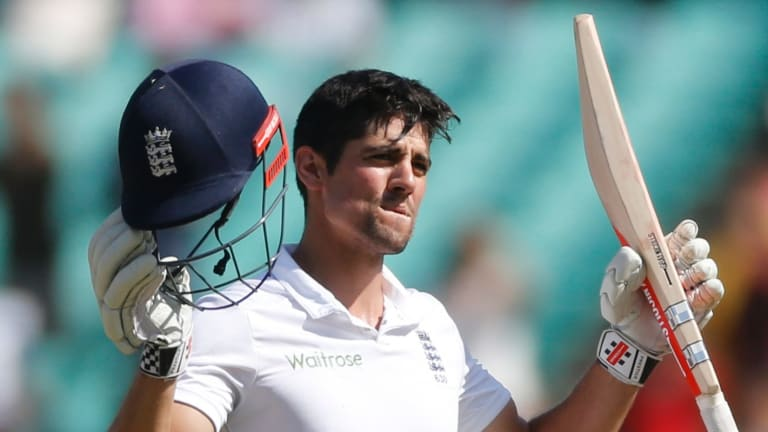 Ton up: England's cricket captain Alastair Cook celebrates after scoring a century against India.