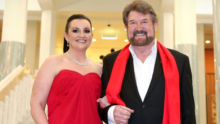"Senator Jacqui Lambie, with her ""Kardashian hair"", and Senator Derryn Hinch arrive for the Midwinter Ball."