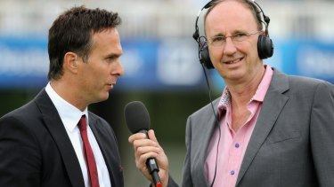 Tieless: Test Match Special commentators Jonathan Agnew (R) with Michael Vaughan.