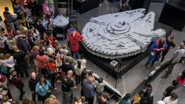 The world's biggest Millennium Falcon made of Lego.
