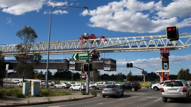 """The so-called """"mini Anzac Bridge"""" over Windsor Road is still far from complete."""