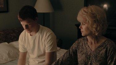 Lucas Hedges and Nicole Kidman in <i>Boy Erased</I>.