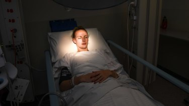 Jessica Sheehan waits for her treatment at the Clinical Trial Centre.