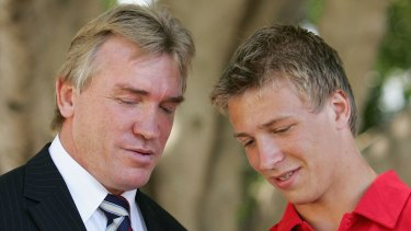 Feud: Garry and Kieren Jack when the latter was drafted in 2005.
