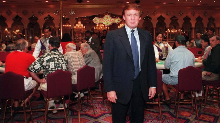 Donald Trump at the Taj Mahal casino in Atlantic City in 1996, one of a string of bankruptcies in the 1990s that alienated him from major US lenders.