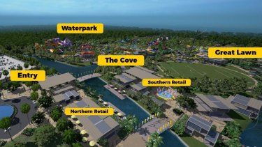 "The first stage includes the water park, the sports field – described as ""The Great Lawn"" – plus kayaking, bungy jumping, net climbing, flyboarding and ""zorbing"" in giant inflatable balls."
