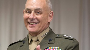 Retired Marine Corps General John F. Kelly, smiles at his change of command ceremony in January 2016.