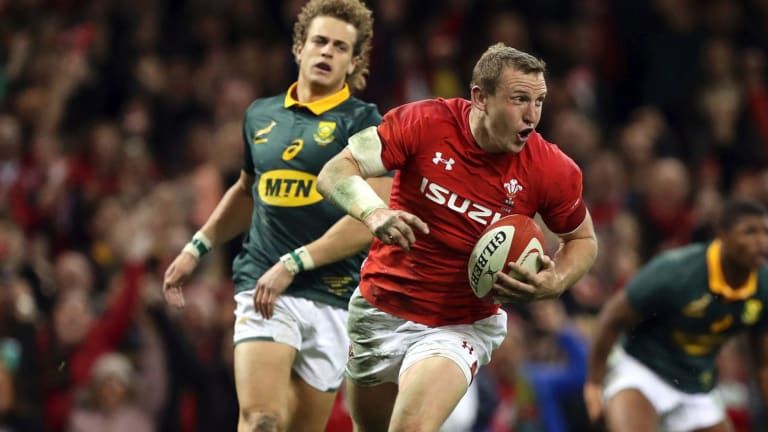 Day one: New Zealand-born Hadleigh Parkes scored two tries on debut, on the exact day he became eligible to represent Wales.