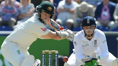 Quiet achiever ... Chris Rogers on his way to 95, left, as England's wicket keeper Jos Buttler tracks the ball.