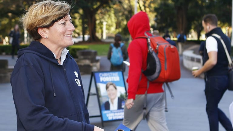 Lliberal city councillor Christine Forster campaigning to be Sydney's lord mayor. Cr Forster had previously proposed shrinking the council boundaries.