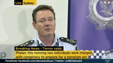 Australian Federal Police Deputy Commissioner Michael Phelan during a joint police press conference on the counter-terrorism raids in Sydney on Thursday.