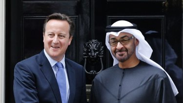 British Prime Minister David Cameron meets Crown Prince Mohammed bin Zayed Al Nahyan of Abu Dhabi at Downing Street in London earlier this month.
