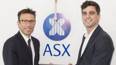 Afterpay executive chairman, Anthony Eisen, and Nicholas Molnar, CEO at the ASX IPO ceremony on Wednesday.