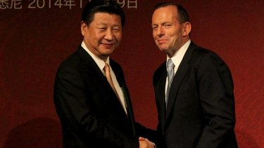 Chinese President Xi Jinping and PM Tony Abbott in Sydney in 2014.