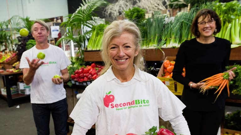 Ian and Simone Carson of food charity SecondBite, with CEO Elaine Montegriffo (right).  The Melbourne couple have been named the World Economic Forum's social entrepreneurs of the year.