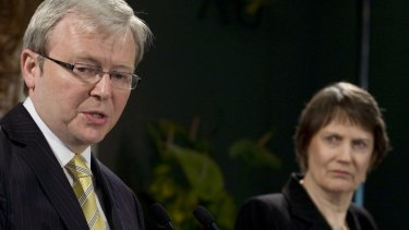 Helen Clark, New Zealand's then-prime minister, right, looks on as Kevin Rudd, Australia's then-prime minister, speaks during a joint news conference in Auckland, New Zealand in 2008.