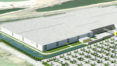 An artist impresion of a new logistics facility that Goodman is developing on behalf of Amazon in Rheinberg, Germany.