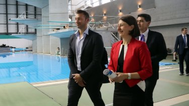Ian Thorpe and NSW premier Gladys Berejiklian toured the Olympic swimming venue in Tokyo.