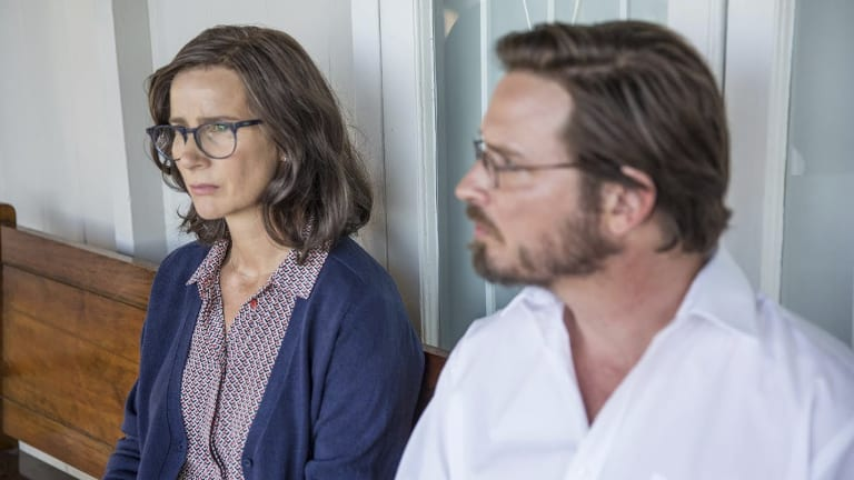 Rachel Griffiths and Aden Young in <i>Don't Tell</i>.