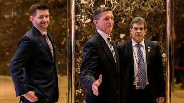 Michael G. Flynn, left, and his father, Lt. Gen. Michael T. Flynn, at Trump Tower.
