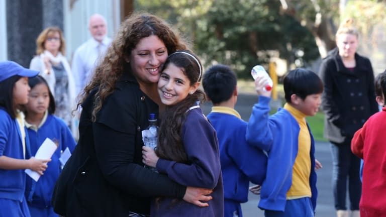 No stress: Claudia Moussa with daughter Gabriella after the opportunity class placement tests.