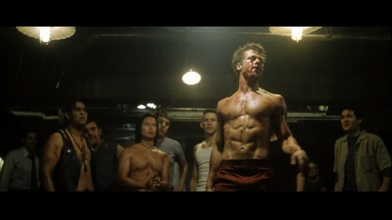 A scene from the 1999 film, Fight Club, starring Brad Pitt as Tyler Durden. One of the iconic lines from the film is 'The first rule of Fight Club is that you don't talk about Fight Club'.