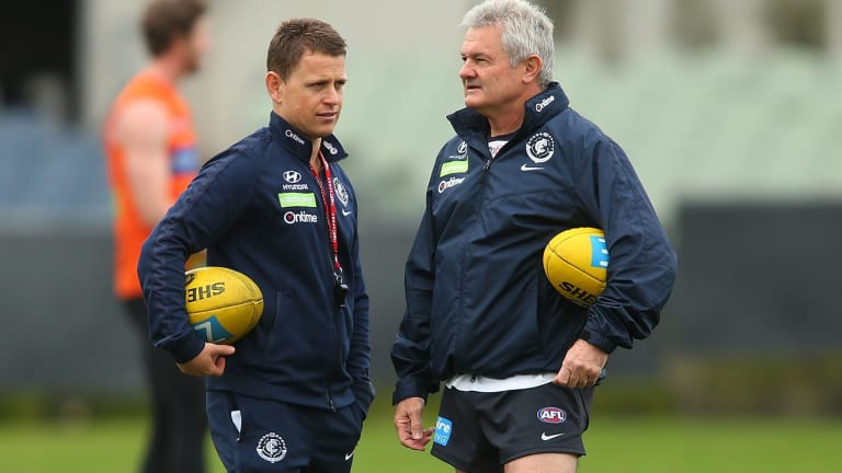 Carlton coach Brendon Bolton and then-assistant coach Neil Craig at Ikon Park in June, 2016.