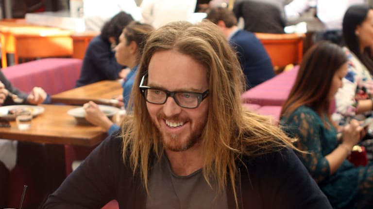 Australian musician and comedian Tim Minchin at lunch with Michael Idato at Redbird in Los Angeles.