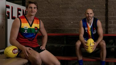 Yarra Glen's Will Gordon and Warburton's Brendan Murphy in the rainbow themed jumpers they will wear for the Pride Cup.