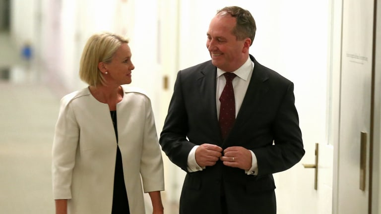 Leading the charge for decentralisation: Nationals leader Barnaby Joyce and his deputy Fiona Nash.