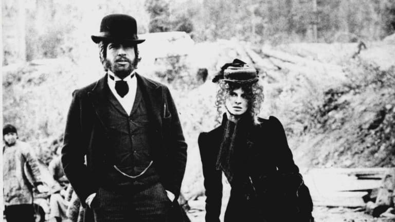 Warren Beatty and Julie Christie on the set of McCabe & Mrs. Miller.